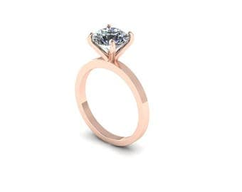 Custom Order for Caroline LaFountain - Hearts and Arrows Forever One Moissanite Solitaire Engagement ring in Rose Gold, 2nd Payment