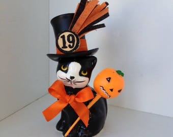 Halloween Decoration Vintage Cat In a Top Hat Halloween Ornament   TVAT