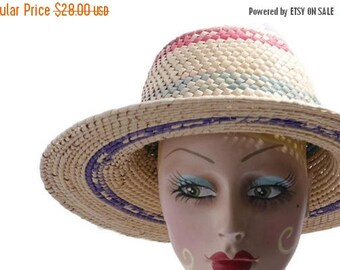 Summer Sale Vintage Woven Straw Colorful Hat// Sun Beach Hat // Summer 80's Hats // 203