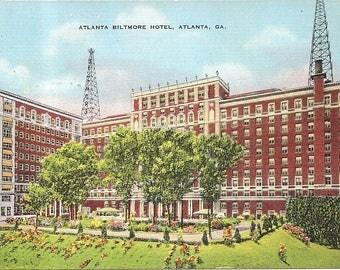 Atlanta Biltmore Hotel, Atlanta, Ga Vintage 20's - 40's Linen Postcard