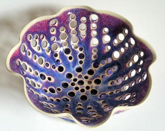 Purple, Blue and Magenta Scalloped Fruit Bowl, Berry Bowl or Colander  - Wheel Thrown Pottery