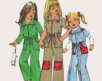 Vintage 1970s Girls Front Zippered Jumpsuit Sewing Pattern Simplicity 7277  Retro 70s Pattern Size 6 Breast 25