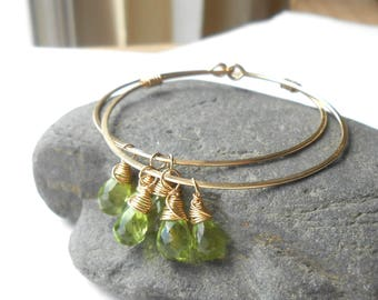 Peridot Earrings, Gold Filled Hoops with Gemstone Drops