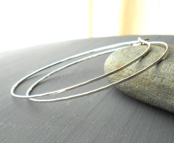 Hammered Sterling Silver 2.5 inch Endless Wire Hoop