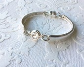 Crystal center spoon handle bracelet with magnetic clasp