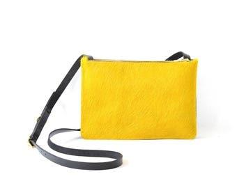 Colette - Handmade Yellow Hair On Hide & Black Leather Shoulder Bag Purse SS17