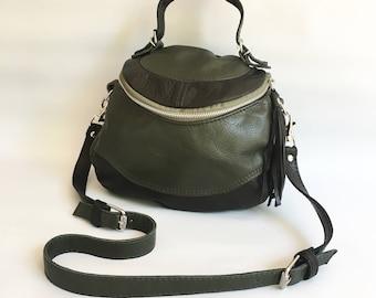 4th of July SALE -  Enoki leather bag - black/olive