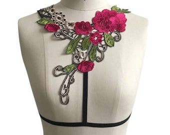 Hot Pink floral chest harness