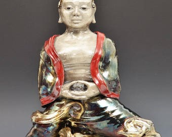 Large Buddha Statue Figurative Sculpture Raku Ceramics Seated in Meditation in the Clouds