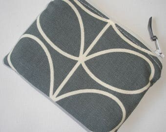 Zipped Coin and Credit Card Purse Orla Kiely Grey Stem Leaf Stemmed Leaves