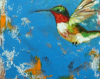 Bird painting 283 Hummingbird 12x12 inch portrait original oil painting by Roz
