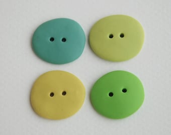 21 mm handmade Buttons, Set of 4, Green color palette