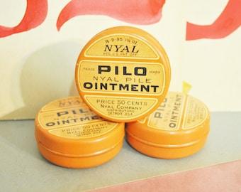 1930 Pharmacy Tin  Pilo Ointment  in Orange Graphic Tin  Vintage Pharmacy Tin
