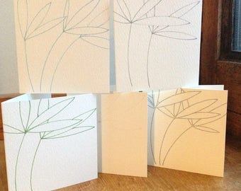 A Set of Five Bamboo Leaf Cards.