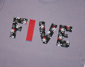 Boys Pirate Skulls FIVE Shirt for 5th Birthday - Size 6 short sleeve gray with lettering in red black plaids