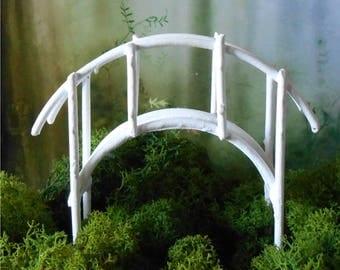 Miniature Bridge~Fairy Garden,White Metal Foot Bridge, Bridge~Miniature Garden~Terrarium~Dish Garden Bridge