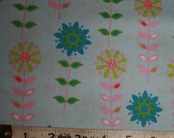 FAT QUARTER Camelot Forest Friends Flowers in Blue cotton fabric