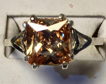 Size 9.75 Champagne colored natural zircon silver ring