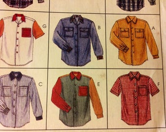 Sewing Pattern McCall's 7834 Men's and Misses' Shirts  Chest 42-44 inches  Uncut Complete