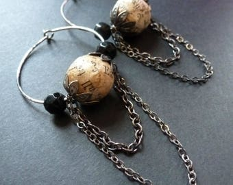 Literary ~ vintage book text hoop earrings with antique black glass beads