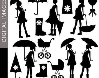 35% OFF SALE Pregnant woman Clipart - Mom To Be and Umbrella Silhouette 07347 - Digital clip art - commercial use for personalized invites,