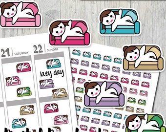 Printable planner stickers kit / erin condren stickers download / brunette girl laying on couch / planner girl sticker pdf / DIY stickers