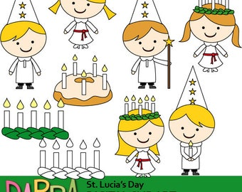 St. Lucia's day clipart / Sweden Swedish holiday St. Lucy / Santa Lucia clip art commercial use / boys girls, candles / digital images