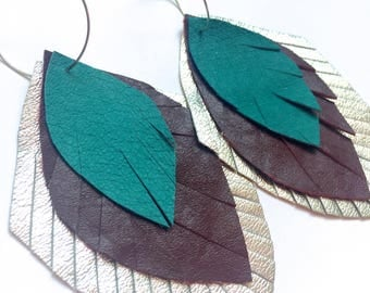 Leather Feather Earrings in silver, brown and turquoise - recycled leather - upcycled, feather earrings, leather feathers, leather earrings