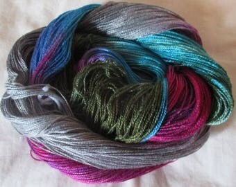 Hand dyed Tencel Yarn - 4/2 Tencel Lace Wt. Yarn  SHADE TREE - 420 yards
