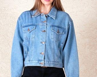 Vintage 80's 90's Bill Blass cropped jean jacket