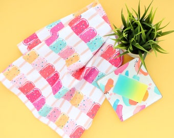 Popsicle and sprinkle print hand towel - pink and navy marble