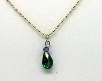 Blue Teardrop Charm Necklace