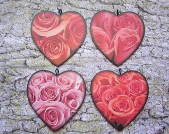 4 heart ornaments - red and pink roses set - wooden shape, photo print, Valentine flowers floral romantic black home decor