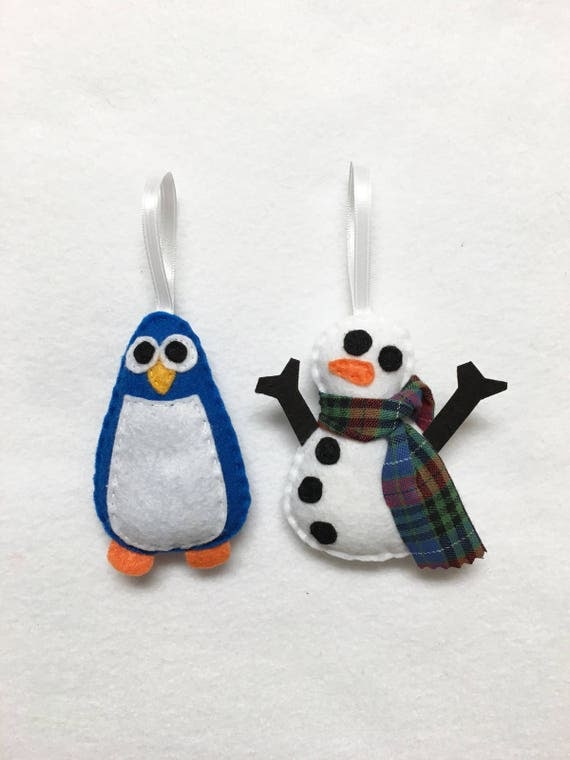 Snowman and Penguin Ornaments, Set of Two Ornaments, Traditional Ornament Set