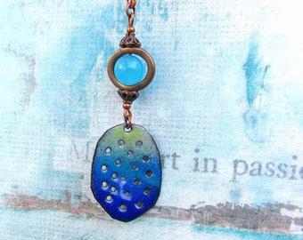 Inspirational necklace Enamel jewelry Boho necklace Blue pendant long necklace rustic jewelry