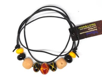 Handmade beads. Nature/yellow/black set /necklace/bracelet for vikings