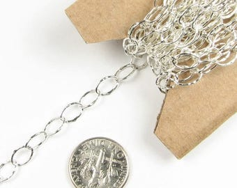SHOP SALE Hammered Dapped Solid .925 Sterling Silver Oval Bubble Chain 3mm x 4mm (24 inches)