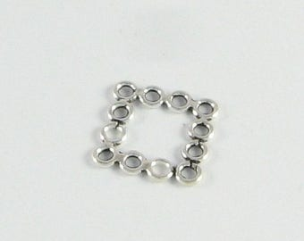 SHOP SALE Unique 16mm Sterling Silver Square Links for Pendants or Chandelier Earrings Components, Jewelry Findings, Bali Square Beads (2 pi