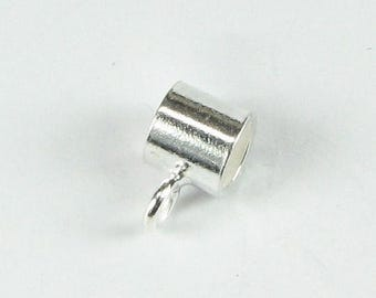 SHOP SALE Bright Bali Sterling Silver Tube Slide Bail Bead with Closed Loop for Dangles Large Hole Bead (1 piece)