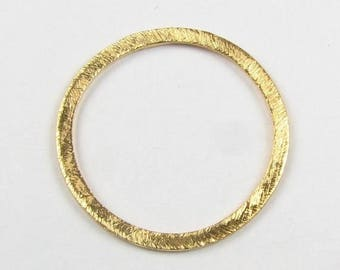 SHOP SALE 40mm Flat Circle Shaped Bali Gold Vermeil Sterling Silver Brushed Line Texture Loop Round Connector Eternity Rings Links (2 beads)