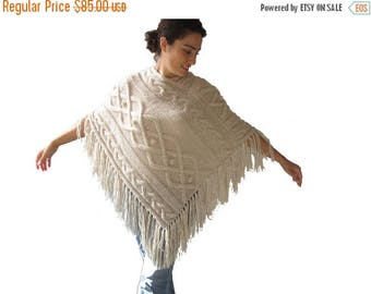 20% WINTER SALE Ecru Cable Knit Poncho by Afra