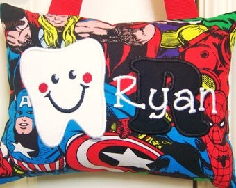 Tooth Fairy Pillow - Super Heroes, Captain America- Boutique - Custom Made - Baby Gift