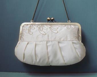 Clutch purse, embroidered silk flower bag, wedding clutch, bridesmaid gift, IVORY CHRYSANTHEMUM