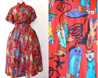SUMMER SALE/ 30% off Vintage 80s Dosey Doe Cowboy Boots Full Skirt Cotton Shirt Dress (size small, medium)