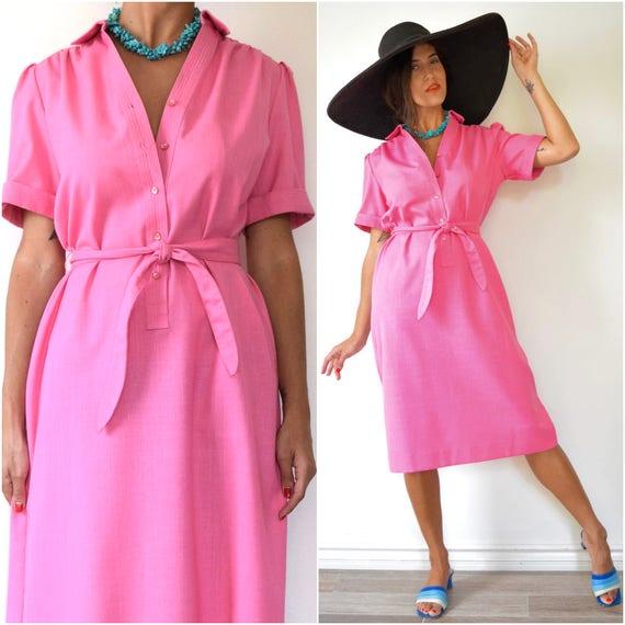 Vintage 60s 70s Flamingo Pink Linen Look Shirt Dress (size small, medium)