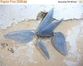 ON SALE Vintage Antique old French 1900/1950 beaded leaves sheer soft blue set of 5