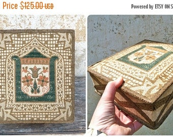 ON SALE Vintage Antique 1900 French faded colors boudoir box tapestry velvet & gold trims
