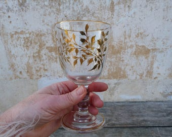 Vintage Antique 1890/1900 Crystal & gold glass Souvenir de communion or wedding Baccarat
