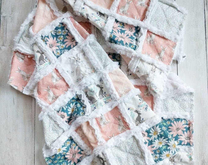 Featured listing image: Bunny Quilt for Baby Girl - Forest Animal Quilt - Woodland Quilt for Baby Girl - Bunny Nursery Bedding - Minky Rag Quilt