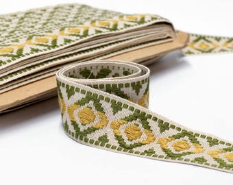 "Vintage Trim by the Yard - Geometric Upholstery Trim - Border Trim - Woven Trim - French Passementerie Trim - 45mm  - 1 3/4"" wide"